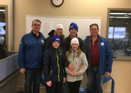 The Bendell's visiting Luff's factory in Calgary.